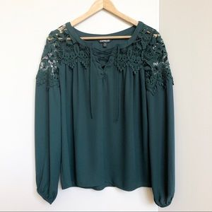 Express Dark Green Lace Shouldered Top